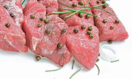 Raw beef steak with green pepper Royalty Free Stock Photography