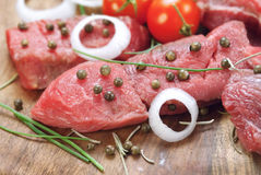 Raw beef steak with green pepper Stock Photos