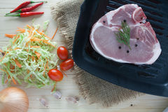 Raw beef steak with ingredient on a pan. Raw beef steak with ingredient Royalty Free Stock Photos
