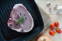 Raw beef steak with ingredient on a pan. Raw beef steak with ingredient Royalty Free Stock Images