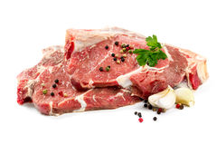 Raw beef steak isolated on white Royalty Free Stock Photography