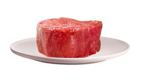 Raw beef steak on plate stock photo