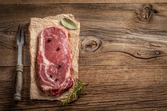Raw beef steak. Raw beef steak ready to grill. Selective focus Stock Images