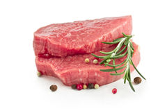 Raw beef steak with rosemary Royalty Free Stock Images