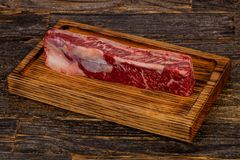 Raw beef steak Short Ribs. Black Angus Stock Photo