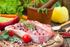 Raw beef steak with spice Royalty Free Stock Image