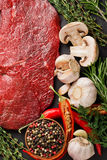 Raw beef steak with spices and herbs Royalty Free Stock Photo