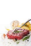 Raw beef steak and spices Royalty Free Stock Photo