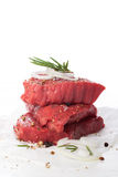 Raw beef steak and spices Royalty Free Stock Photos