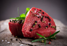 Raw beef steaks Stock Photo