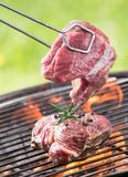 Raw beef steaks. On grill Royalty Free Stock Image