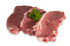 Raw Beef Steaks. Isolated on white background Royalty Free Stock Photography