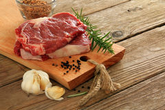 Raw beef steaks Stock Image