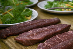 Raw beef steaks Royalty Free Stock Photography