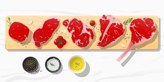 Raw beef steaks, tenderloin, strip loin, rib eye, t-bone and tomahawk with seasoning on wooden cutting board on marble stone royalty free illustration