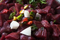 Raw Beef Stew Meat Stock Photo