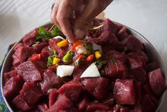 Raw Beef Stew Meat Royalty Free Stock Images