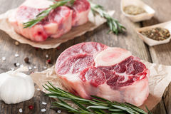 Raw beef t-bone steak Royalty Free Stock Images