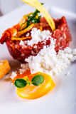 Raw beef .Tasty Steak tartare. Classic steak tartare on white plate with egg bread and cup red wine Stock Image