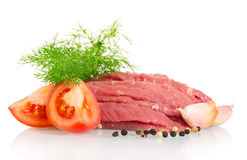 Raw beef, tomatoes, dill and spices isolated on white. Raw beef, tomatoes, dill and spices isolated on white background Stock Images