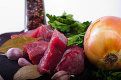 Raw beef and vegetables Royalty Free Stock Photo
