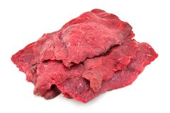 Raw Beef On White stock photography