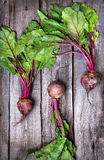 Raw beetroot. With green leaves on wooden background Stock Images
