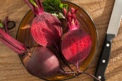 Raw beetroot on wooden background.  Stock Images