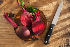 Raw beetroot on wooden background Stock Photos