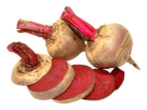 Raw beetroots. Fresh raw unwashed beetroots isolated on a white background Royalty Free Stock Images