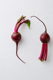 Raw beetroots on white wood background. Food above Stock Image