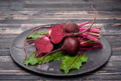 Raw beets with leaves Stock Photography