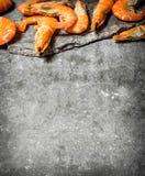 Raw big shrimp. Raw big shrimp . On the stone table Stock Photography