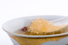 Raw Bird nest soup with Chinese bowl Stock Photo