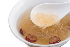 Raw Bird nest soup with Chinese bowl Stock Photography