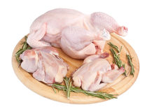 Raw Birds on Cutting Board Stock Images