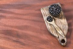 Raw black beans. Top view - Phaseolus vulgaris` Black turtle. Raw black beans - Phaseolus vulgaris` Black turtle Stock Photo