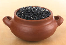 Raw Black Beans in Rustic Bowl Royalty Free Stock Photos