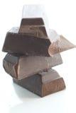 Raw black chocolate. Hi cocoa chocolate pieces, broken, raw, rough stock image