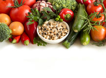 Raw black eyed  peas and vegetables Royalty Free Stock Photo