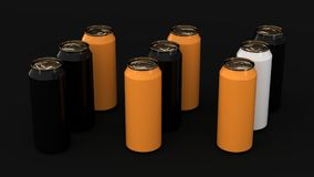 Raw of black, orange and white soda cans. On black background. Beverage mockup. Tin package of beer or drink. 3D rendering illustration Stock Photo
