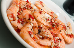 Raw black tiger prawns with spices Stock Image