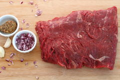 Raw blank steak with french shallot, mustard and garlic Stock Photos