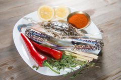 Raw blue crab and ingredients on white plate Stock Photo