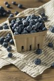 Raw Blue Organic Blueberries. In a Basket Royalty Free Stock Image