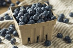 Raw Blue Organic Blueberries. In a Basket Stock Photo