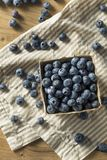 Raw Blue Organic Blueberries. In a Basket Stock Photos
