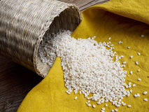 Raw bomba white rice. On the table Royalty Free Stock Image
