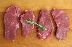 Raw Boneless Lamb Leg Meat Steaks Royalty Free Stock Photos