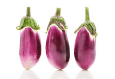 Raw bright purple eggplants Royalty Free Stock Photography